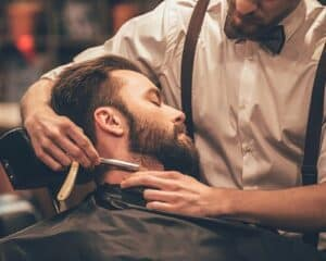 Getting a straight razor shave at a barbershop