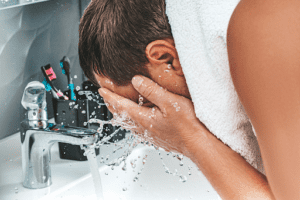 Washing your face after shaving