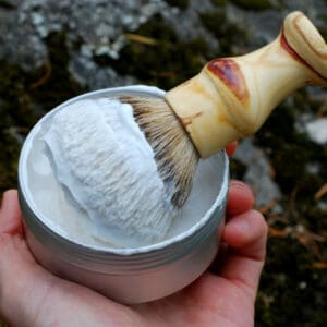 Lather shaving soaps using a tin can